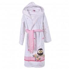 Детски халат за баня DF печат L –  Розов Бухал