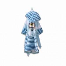 Детски халат за баня DF печат L –  Син Бухал