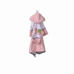 Детски халат за баня DF печат S –  Розова Костенурка