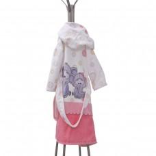 Детски халат за баня DF печат S –  Слончета Приятели