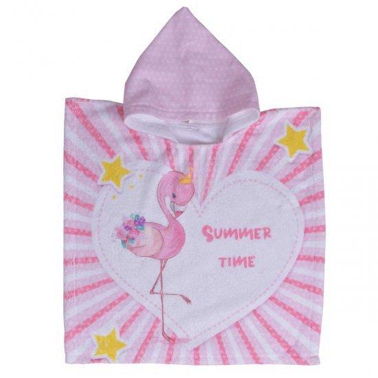 Детско пончо DF печат L - Фламинго