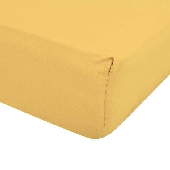 Долен чаршаф ранфорс  с трико 180/200 - Жълт