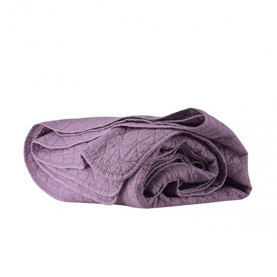 Покривало за легло с ефект варен памук 220/240 - Лилав