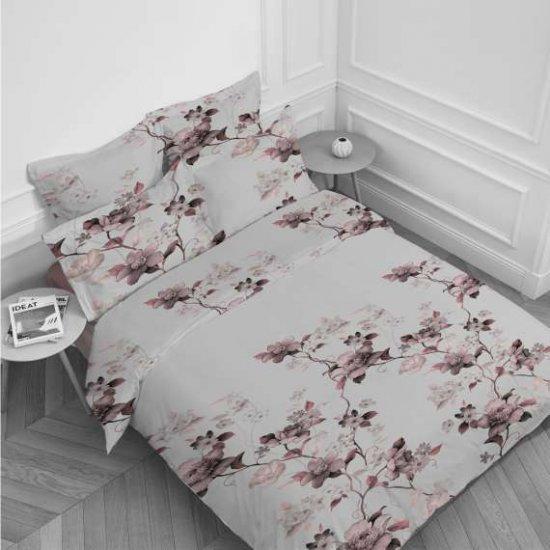 Спален комплект Ранфорс печат единичен - Цветя Екрю