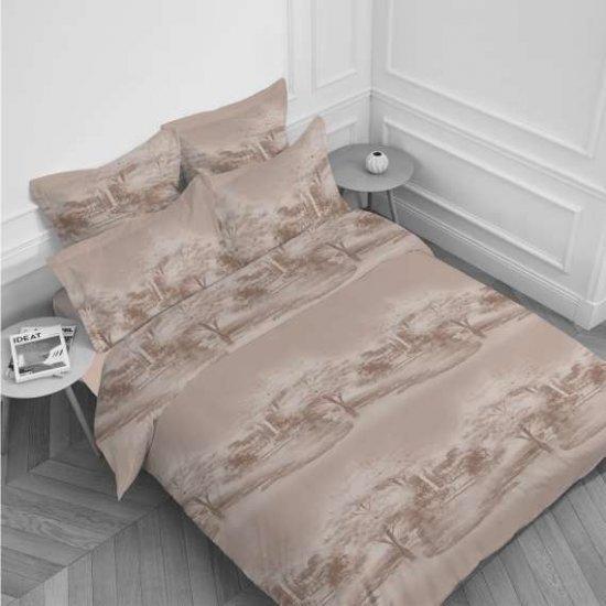 Спален комплект Ранфорс печат единичен - Пейзаж Беж