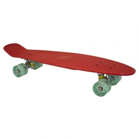 Скейтборд (пениборд) 67 см - Червен със зелени колела