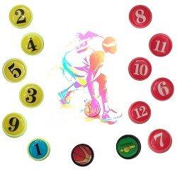 Магнити за треньорска дъска по баскетбол MAXIMA, Ф2 см, Комплект 14 броя