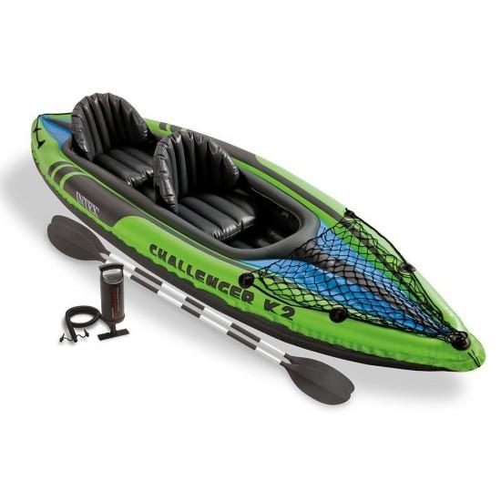 Надуваема лодка каяк Challenger K2 351x76x38см 68306NP Intex