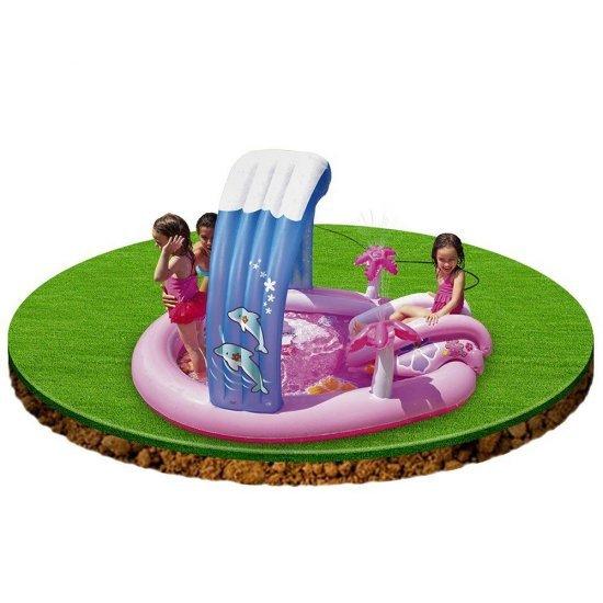 Надуваем забавен център с пързалка Hello Kitty 211x163x121см 57137NP Intex