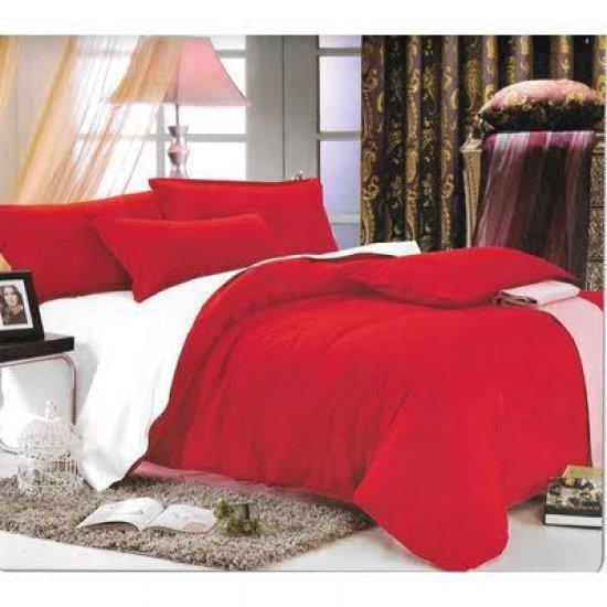 Спално бельо Ранфорс Бяло/Червено MONDO
