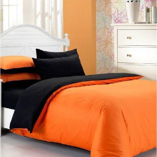 Спално бельо Ранфорс Черно/Оранжево MONDO