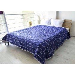 Покривало за легло микрофибър щампа Сидра - Син 150/210