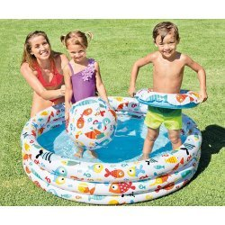 Комплект детски надуваем басейн Рибки с топка и пояс 132x28см 59469NP Intex