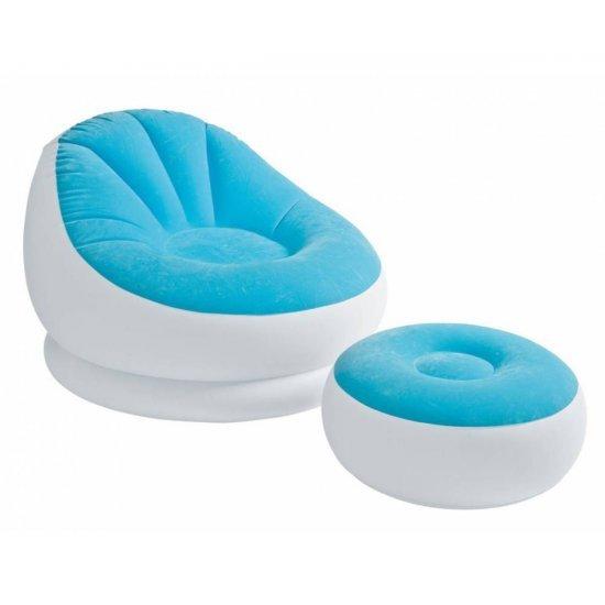 Надуваем ергономичен фотьойл с табуретка INTEX Cafe Chaise, асортимент