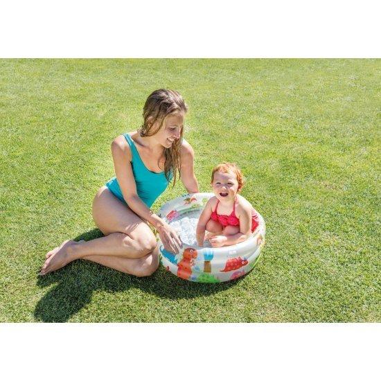 Бебешки надуваем басейн с надуваемо дъно Динозавърче  61x22см 57106NP Intex