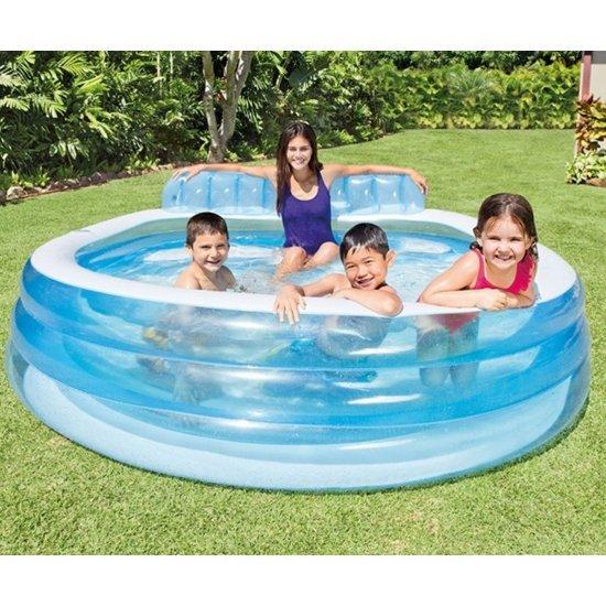 Надуваем семеен басейн със седалка 224х216х76см 57190NP Intex