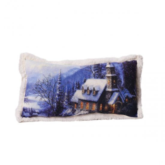 Декоративна възглавница FLEECE печат 30/50 - Къща в Снега