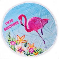 Хавлиена кърпа с ресни DF печат Ф150 - Фламинго