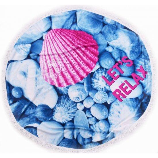 Хавлиена кърпа с ресни DF печат Ф150 - Розова Мида