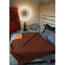 Покривало за легло микрофибър едноцв. 150/210 -  Оранжев/Кафяв