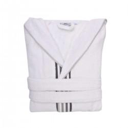 Халат за Баня РИТМО XL - Бял със Сив Бордюр