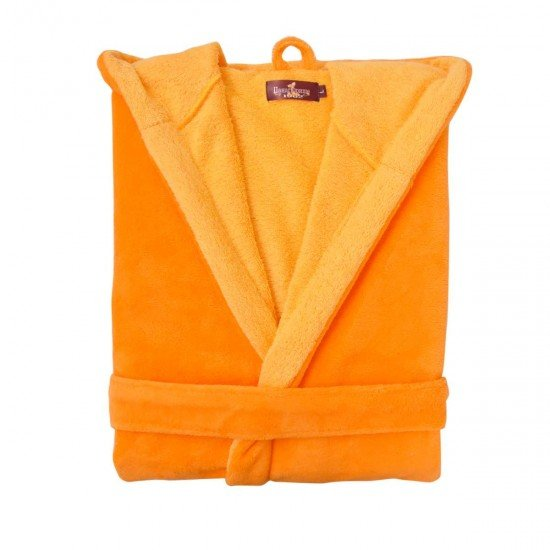 Халат за Баня DF качулка L - Оранжев/Жълт