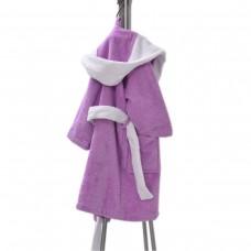 Детски халат за баня L - Лилав/Бял