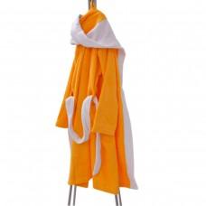 Детски халат за баня L - Жълт/Бял