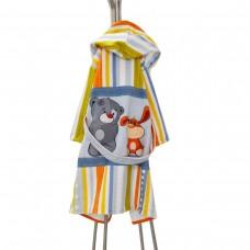 Детски халат за баня DF печат M - Мече и Зайче