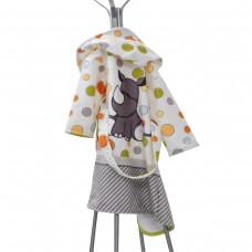 Детски халат за баня DF печат M - Носорог
