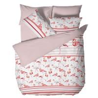 Спално бельо Ранфорс макси - Фламинго Бяло и Розово