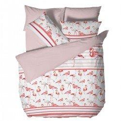 Спално бельо Ранфорс голям - Фламинго Бяло и Розово