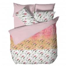 Спално бельо Ранфорс единичен- Цветя в Розово