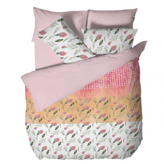 Спално бельо Ранфорс голям - Цветя в Розово