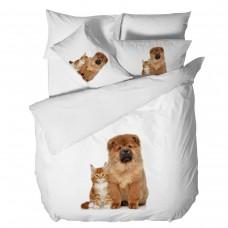 Спално бельо Ранфорс 3D единичен - Коте и Куче