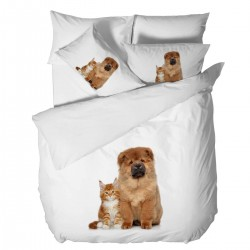 Спално бельо Ранфорс 3D голяма - Коте и Куче