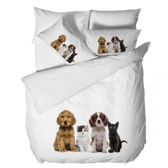 Спално бельо Ранфорс 3D единичен - Приятели Котки и Кучета