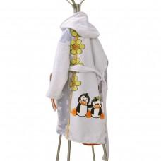 Детски халат за баня DF печат L - Пингвини
