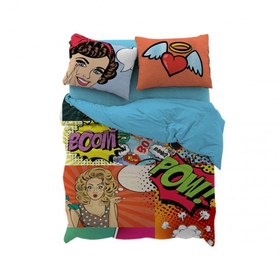 Детско спално бельо Ранфорс единичен - Комикс