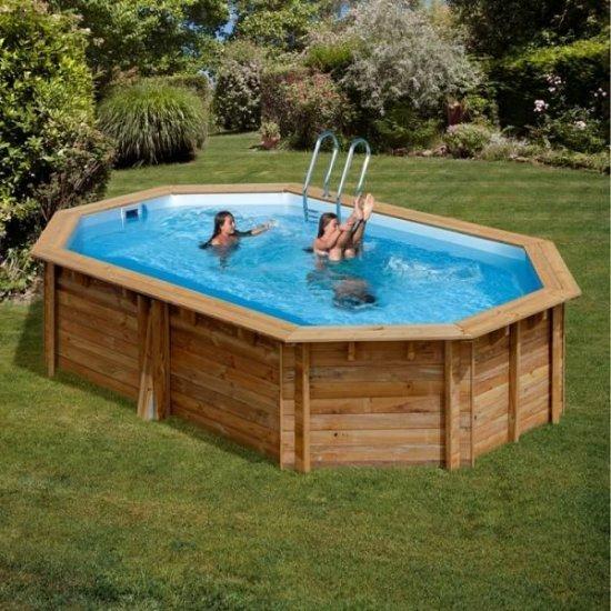Дървен овален басейн Gre 637x412x133cм 783337E