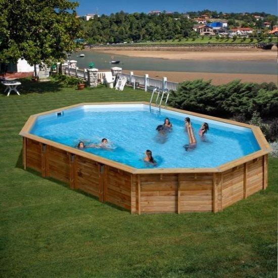 Дървен овален басейн Gre 872x472x146cм 786236E