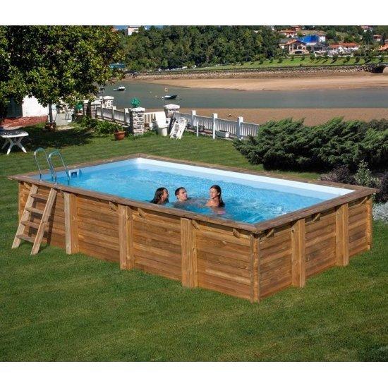 Дървен правоъгълен басейн Gre 600x400x146cм 788029E