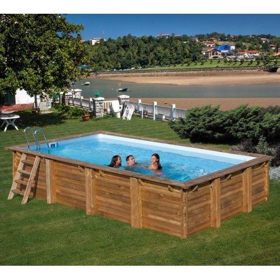 Дървен правоъгълен басейн Gre 800x400x146cм 788030E