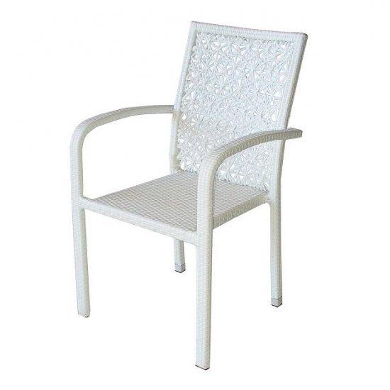 Градински стол 59 - 2 бял ратан San Valente