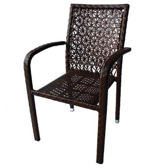 Градински стол 59 - 2 кафяв ратан San Valente