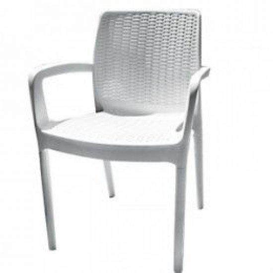 Градински стол БАЛИ бял полипропилен Siesta