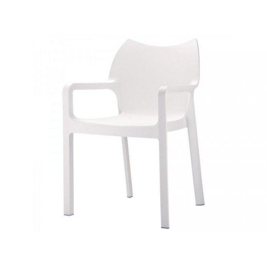 Градински стол Дива бял полипропилен с фибро стъкло San Valente