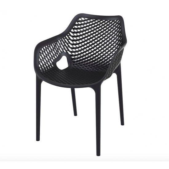 Градински стол Еър XL черен полипропилен с фибро стъкло Siesta