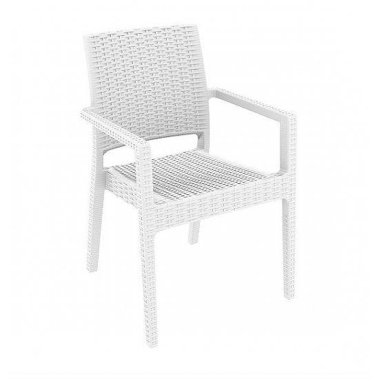Градински стол Ибиза бял полипропилен с фибро стъкло Siesta