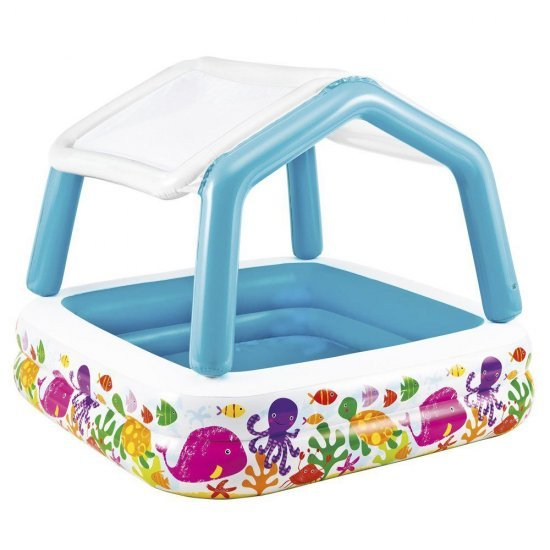 Надуваем детски басейн със сенник 157x157x122см 57470NP Intex